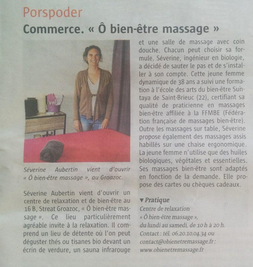 """Merci Le Télégramme Centre de relaxation """"Ô bien-être massage"""" à Porspoder / Brest / Finistère"""